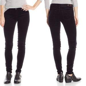 AG The Legging Super Skinny Black Velveteen Pants